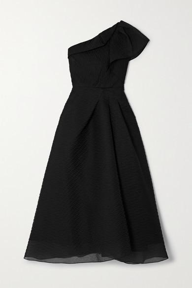 Thumbnail for your product : Roland Mouret Ostuni One-shoulder Silk-blend Organza-jacquard Midi Dress - Black