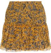 Etoile Isabel Marant Brinley Smocked Printed Silk-georgette Mini Skirt - FR38