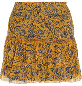 Etoile Isabel Marant Brinley Smocked Printed Silk-georgette Mini Skirt - Yellow