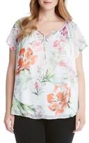 Karen Kane Plus Size Women's Keyhole Tie Floral Top