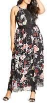 City Chic Lace Trim Floral Maxi Dress
