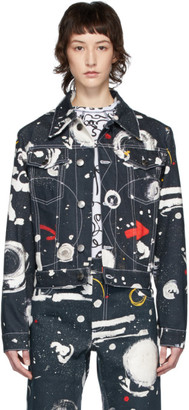 Charles Jeffrey Loverboy Navy Denim Asteroids Art Jacket