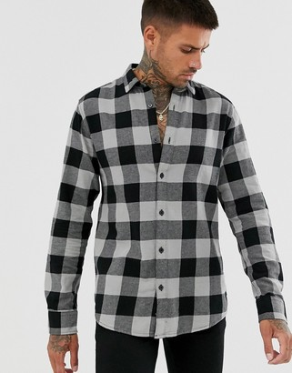 ONLY & SONS slim shirt in black brushed check cotton-Grey