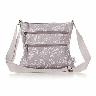 The Olive House Womens Floral Matte Oilcloth Cross Body Messenger Bag Handbag Grey