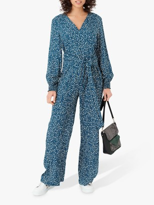 Brora Graphic Print Long Sleeved Jumpsuit, Sapphire/Swan