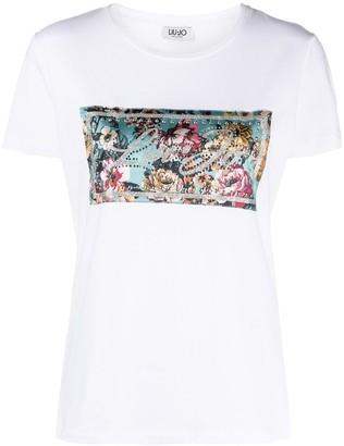 Liu Jo embellished logo patch T-shirt