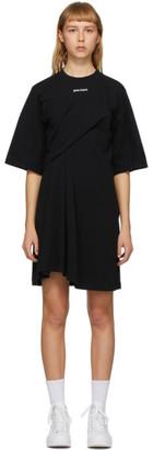 Palm Angels Black Logo Draped Dress