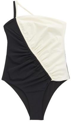 Isa Boulder Leonard Asymmetric Bi-colour Swimsuit - Black White