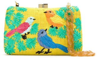 Serpui Marie Embroidered Raffia Clutch
