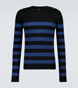 Balmain Striped wool and cotton blend sweater