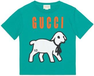 Gucci Children's lamb print cotton T-shirt
