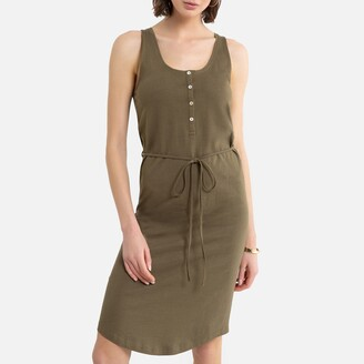 La Redoute Collections Cotton Sleeveless Mid-Length Dress with Tie-Waist