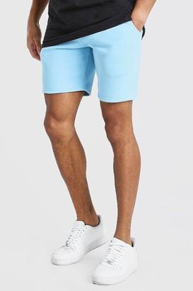 boohoo Mens Blue Roman MAN Elastic Waist Jersey Short, Blue