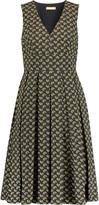 Michael Kors Pleated printed cotton midi dress