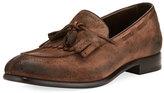 Ermenegildo Zegna Il Moccasino Suede Fringe Loafer, Saddle