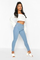 boohoo Petite High Waist Rip Knee Skinny Jeans