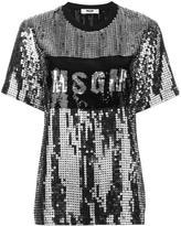 MSGM sequin logo T-shirt - women - Polyamide/Polyester - 42