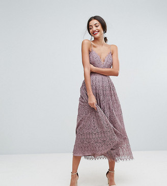 Asos Tall TALL Lace Cami Midi Prom Dress-Purple
