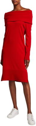 Akris Punto Off-the-Shoulder Rib Knit Wool-Cashmere Dress
