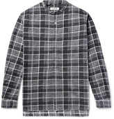 Nonnative - Farmer Grandad-collar Checked Slub Cotton-flannel Shirt