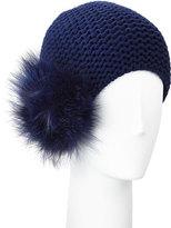 Inverni Cashmere Pompom Beanie, Blue