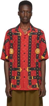 Versace Red Bondage Print Short Sleeve Shirt
