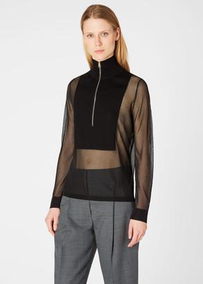 Paul Smith Women's Black Sheer Half-Zip Sweater