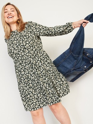 Old Navy Floral-Print Long-Sleeve Plus-Size Swing Dress