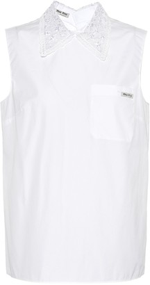 Miu Miu Cotton sleeveless poplin shirt