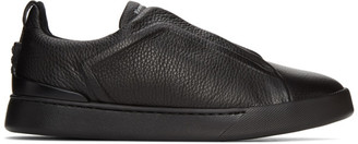 Ermenegildo Zegna Black Triple Stitch Sneakers