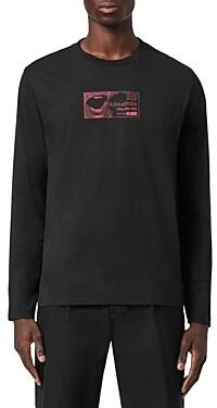 AllSaints Shout Cotton Logo Graphic Long Sleeve Tee