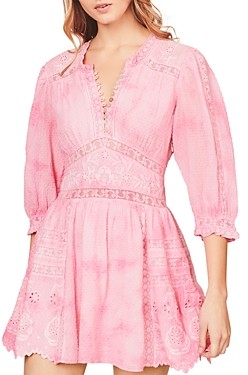 LoveShackFancy Leno Cotton Embroidered Mini Dress