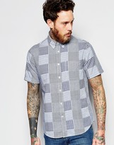 Edwin Standard Short Sleeve Regular Fit Shirt Patchwork Woven Double Cloth In Blue