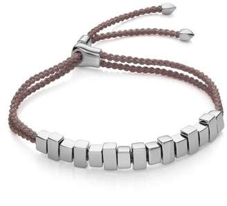 Monica Vinader Silver Linear Ingot Cord Friendship Bracelet