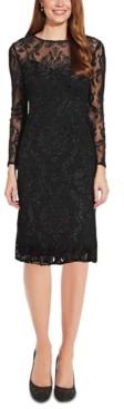 Adrianna Papell Velvet Burnout Sheath Dress