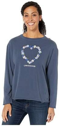 Life is Good Flower Heart Long Sleeve Crushertm Tee (Darkest Blue) Women's T Shirt
