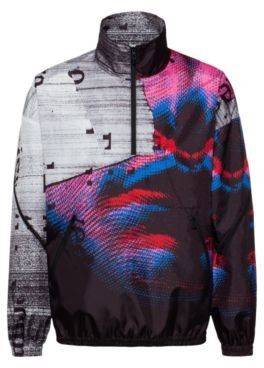 HUGO BOSS Relaxed Fit Windbreaker Jacket With Graphic Print - Patterned