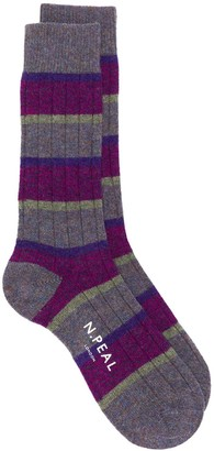 N.Peal striped ankle socks