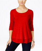 Style&Co. Style & Co Petite Chiffon-Hem Top, Only at Macy's