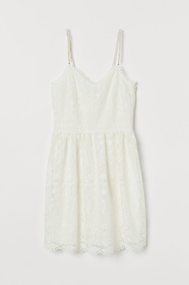 H&M Bead-strapped Lace Dress - White