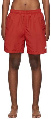 Stussy Red Stock Water Swim Shorts