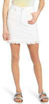 Ptcl Ripped Frayed Hem Denim Miniskirt