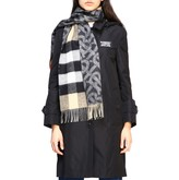 Burberry Double-sided Cashmere Scarf With Tb Logo And Check Motif