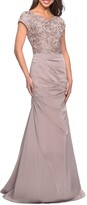 Thumbnail for your product : La Femme Embroidered Bodice Ruched Trumpet Gown