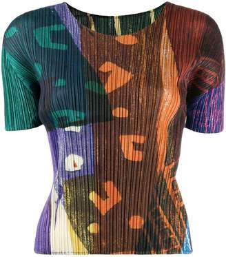 Pleats Please Issey Miyake abstract patterned T-shirt