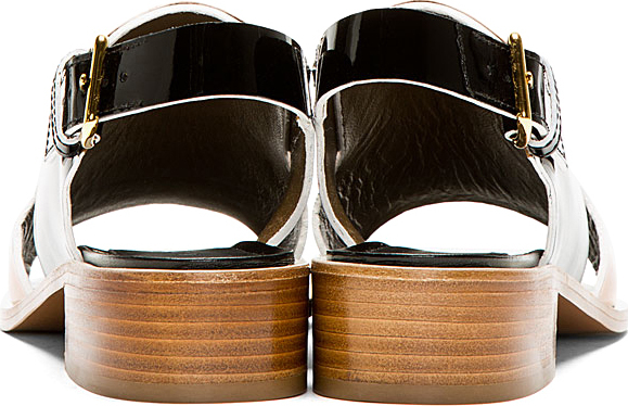 Marni Black & Camel Patent Leather Sandals