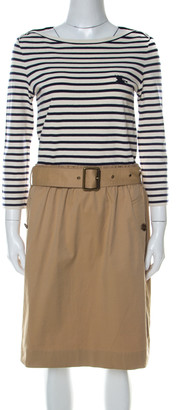Burberry Striped Cotton Jersey and Twill Belted Dress M