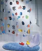 Spirella Fish PEVA Clear Plastic Shower Curtain, 180 x 200 cm, Blue/ Orange/ Yellow/ Black/ Green by Spirella