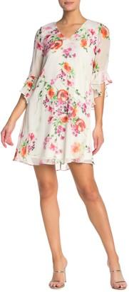 Modern American Designer Floral Angel Sleeve Dress