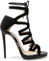 Jimmy Choo Dani Cutout Leather, Suede And Pvc Sandals - Black